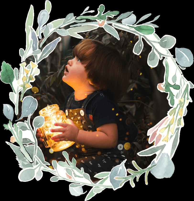 Fairytales Fertility Floral Border Young Boy Jar Light Nighttime Image