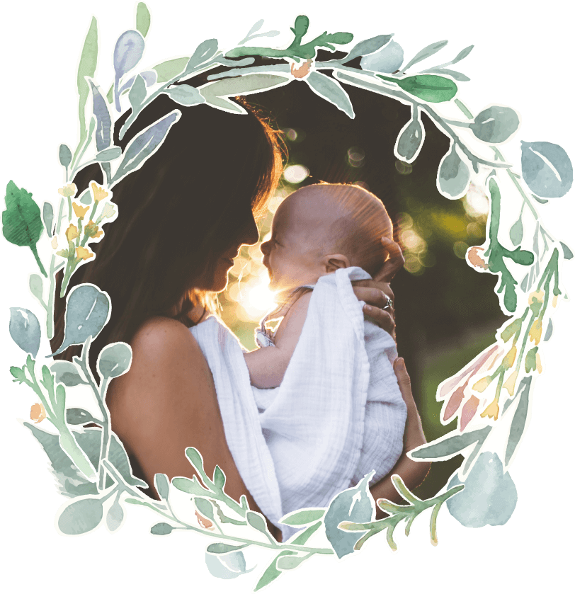 Fairytales Fertility Floral Border Mother and Toddler Sunset Image