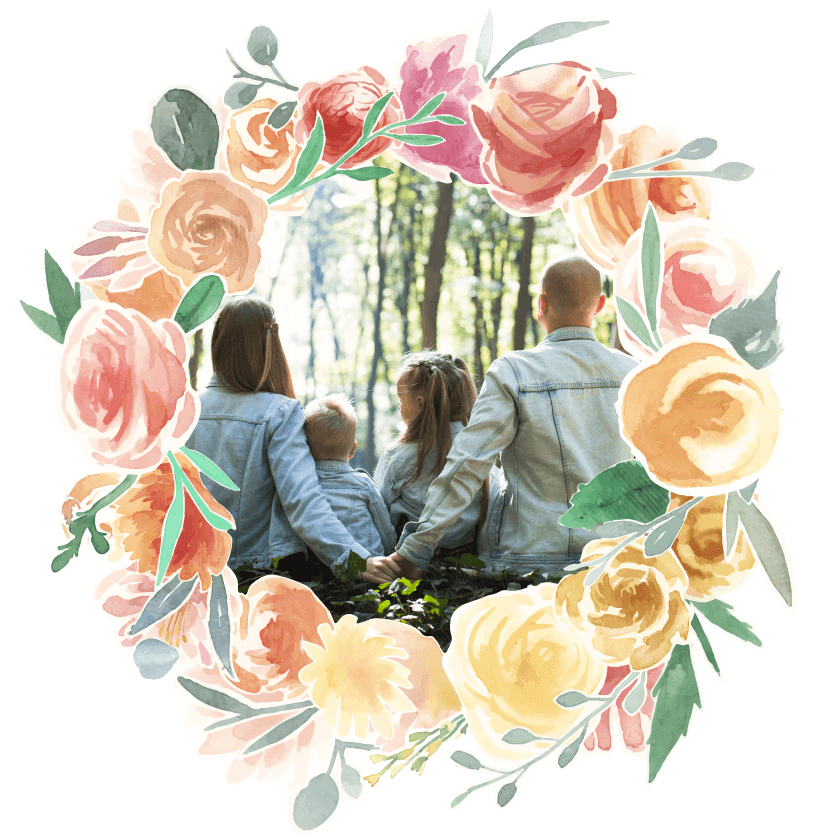 Fairytales Fertility Floral Border Jean Jacket Family Image
