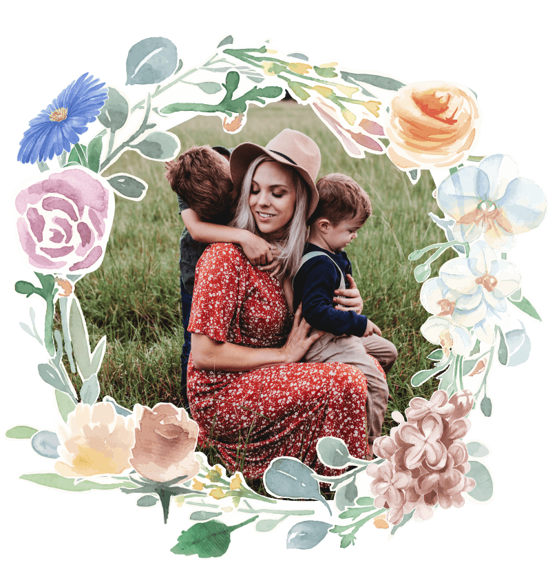 Fairytales Fertility Floral Border Young Mom Hat With Sons Image