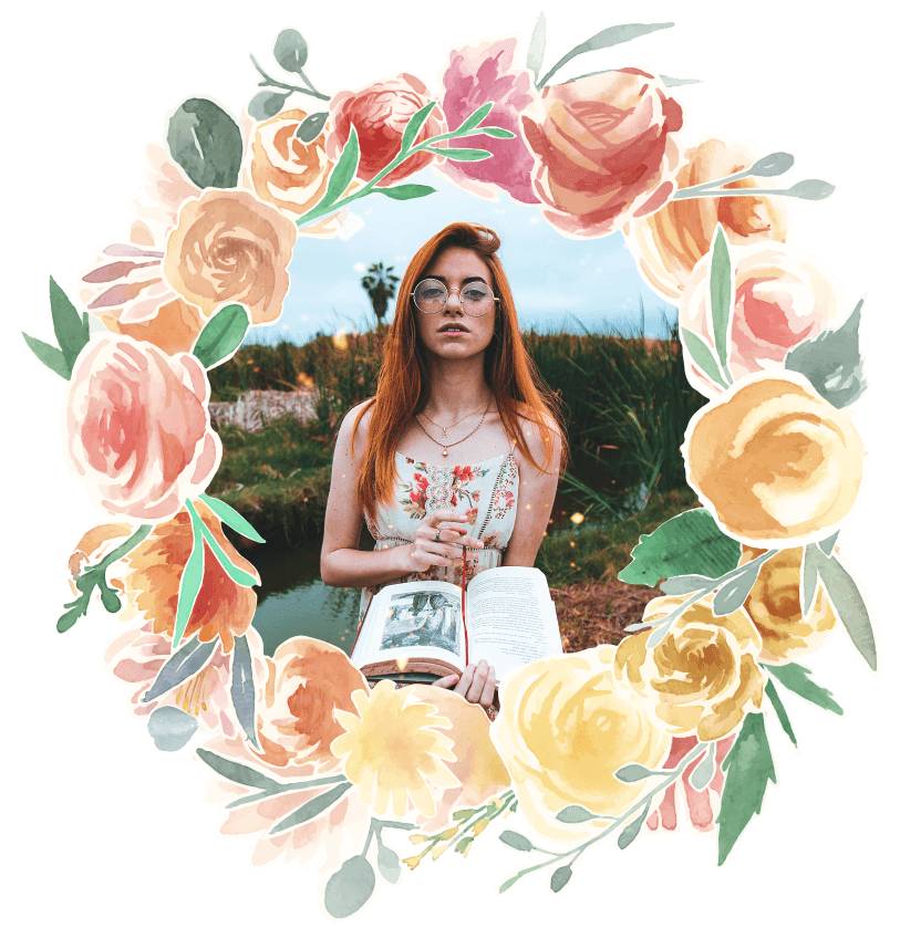 Fairytales Fertility Floral Border Teen With Book Image