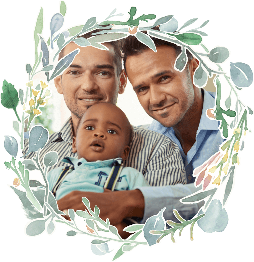 Fairytales Fertility Floral Border Young Family Baby In Suspenders Image