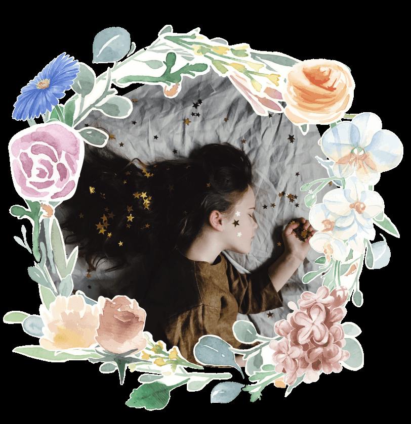 Fairytales Fertility Floral Border Girl Glitter Sleeping Image