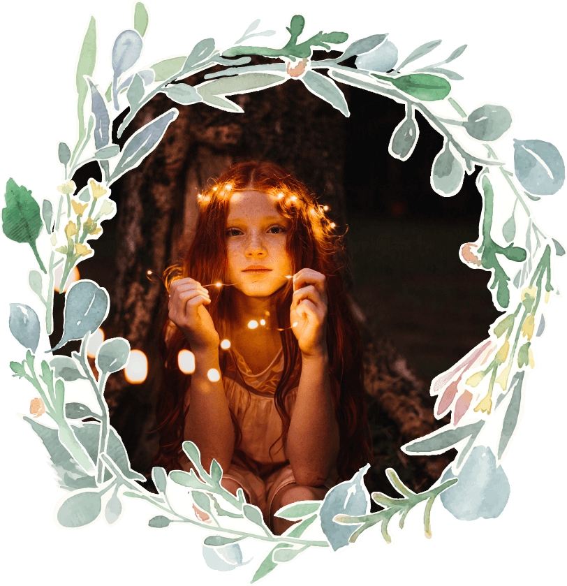 Fairytales Fertility Floral Border Kid Playing Night Image