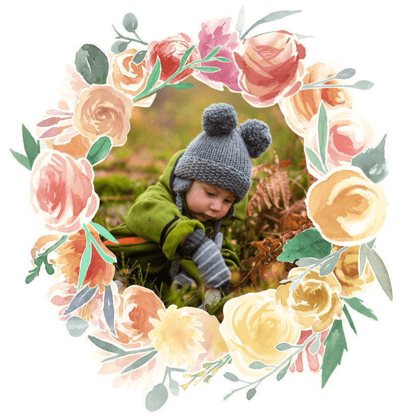 Fairytales Fertility Floral Border Kid Playing Image