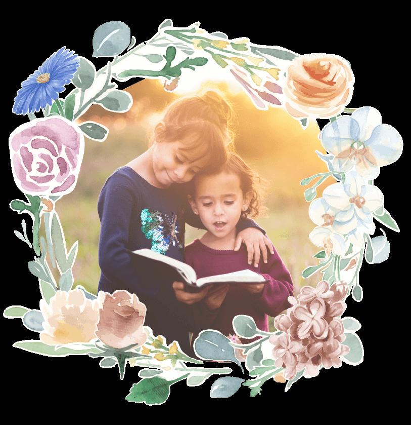 Fairytales Fertility Floral Border Kids Reading Image